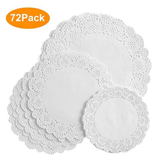 VIPITH 72 piezas de papel de encaje redondo blanco para decoración de tartas, para fiestas o bodas, 16,5 cm, 8.5 pulgadas, 10.5 pulgadas