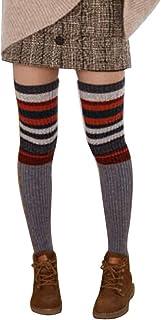 Calentadores de piernas Profusion Circle para mujer, coloridos, a rayas, tejidos, por encima de la rodilla, calcetines hasta el muslo