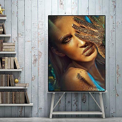 Pop-art foto van stijlvolle gouden zwarte vrouw canvas schilderij poster en prints Scandinavische stijl woonkamer decoratie
