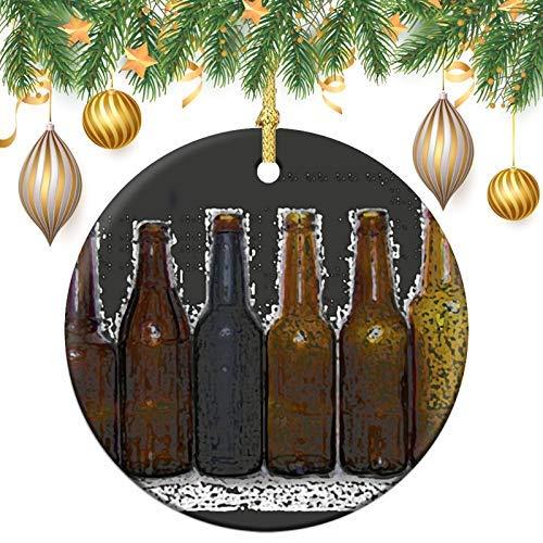 Bierflaschen Weihnachtsbaum, rund, Keramik, Andenken, Dekoration, Ornament, Weihnachtsbaumschmuck, Weihnachtskugeln zum Aufhängen