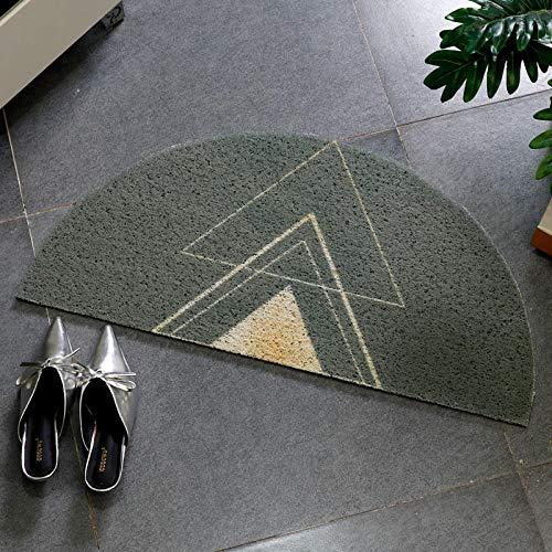 Lichte luxe halfronde deurmat, zijdecirkel PVC antislip vloermat, mat met rubberen bodem, slaapkamervloer-60x120cm_F