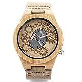 Hombre Reloj de Madera de bambú Natural del Reloj de Madera con Suave y Correa de Cuero marrón Comodidad Movimiento de Cuarzo Relojes Casual