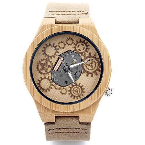 Hombre Reloj de Madera de bambú Natural del Reloj de Madera con...