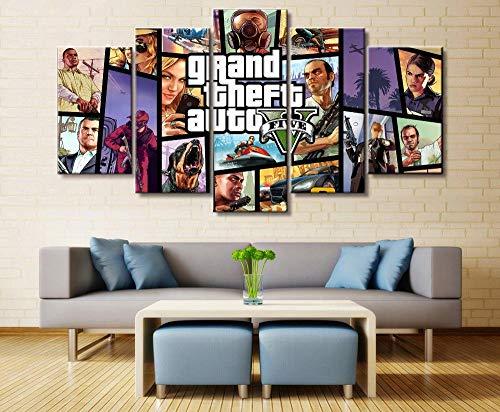 GIRDSS Leinwand Bilder 5 Teilig Kunstdruck Modern Wandbilder XXL Home Wohnzimmer Wanddekoration 5 TLG Bilder GTA Grand Theft Auto Fünf Creative Geschenk Kunstwerk 150X80