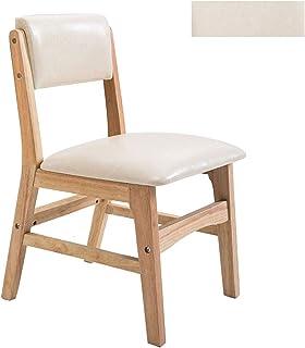 Sillas de comedor de cocina, sillas de comedor, piel de cera de aceite, respaldo de madera maciza, ocio, restaurante occidental, hotel, dormitorio, balcón cocina (color: blanco, tamaño: A)