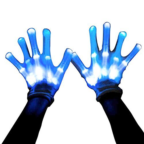 MAGIFIRE Led Skeleton Gloves, 12 Color Changeable Light Up Shows Halloween Costume, Novelty