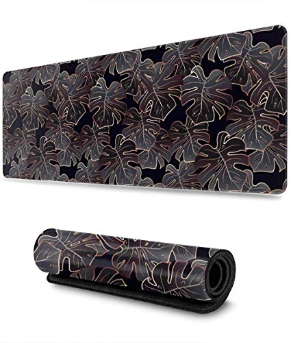 Rose Gold and Black Monstera Gaming Mouse Pad XL,Extended Large Mouse Mat Desk Pad, Stitched Edges Mousepad,Long Non-Slip Rubber Base Mice Pad,31.5X11.8 Inch