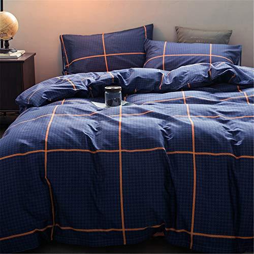 Ropa De Cama De Cuatro Piezas Textiles para El Hogar Funda Nórdica con Patrón De Cuadros Simple Y Atmosférico Cómoda Y Duradera 220x240cm