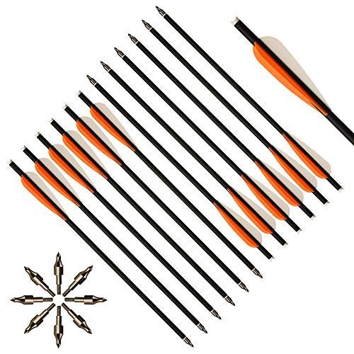 Toparchery 12er Carbon Armbrustpfeile 16Zoll/20 Zoll Carbonpfeile Armbrustbolzen Bolzen für Armbrust mit 4 Zoll Schaufeln (16 Zoll mit Orange Flügeln)