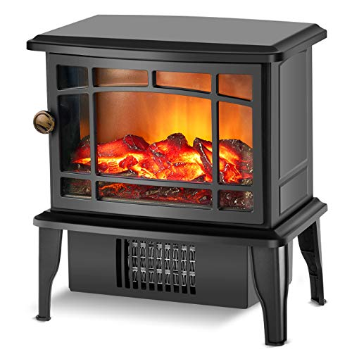 Fireplace Heater - Electric Fireplace Stove w/Fast Heating System, 500W Portable Space Heater for Room with Realistic 3D Fake Fireplace Flame, Overheat Tip-Over Protection for Office Indoor Use Heater Space TRUSTECH