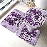 RedBeans - Juego de alfombras de baño (3 piezas, de franela), diseño de calavera mexicana de azúcar, suave pedestal antideslizante