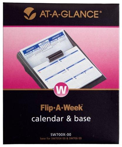 AT-A-GLANCE Flip-A-Week Desk Calendar and Base, 5 x 8 Inches, Black, 2013 (SW700X-00)