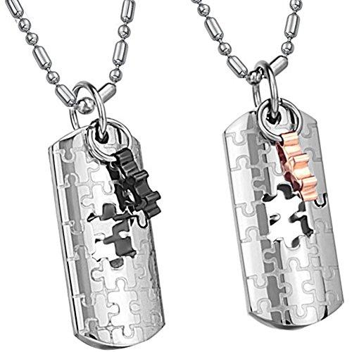 JewelryWe Schmuck 2 Partnerketten, Edelstahl Puzzle Anhänger mit Ketten Halsketten für Damen Herren