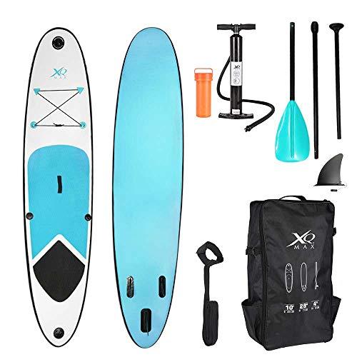 XQ Max - Tabla de surf de remo, 305 cm, juego completo con bomba, herramienta de reparación, correa para el pie, remo ajustable, color azul claro