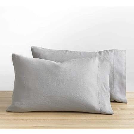 Set Of 2 Embroidered festoon LINEN PILLOWCASES .Stone Washed Top Quality Super Soft Pure European Linen.