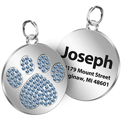 TedYoho Personalized Tags Rhinestones Inlaid Paw Print on Round Stainless Steel Crystal Pet ID Tags Custom Engraved Name 4 Different Sparkle Colors (Light Blue)