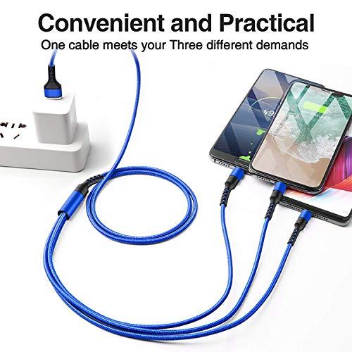 Multi USB Kabel, 3 in 1 Universal Ladekabel Mehrfach Nylon Micro USB Typ C Kabel für Android Samsung Galaxy S10 S9 S8 S7 S6, Huawei P30 P20, Oneplus, Xiaomi, Sony, LG, Kindle, Echo Dot und mehr