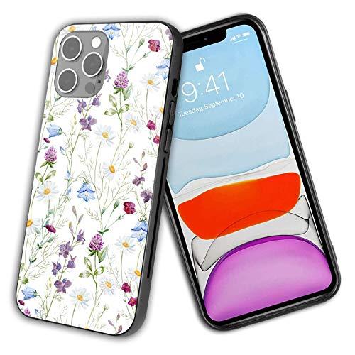 Compatible con iPhone 12 Pro Max 2020 carcasa de vidrio, acuarela, manzanilla, trébol, flores silvestres, flores