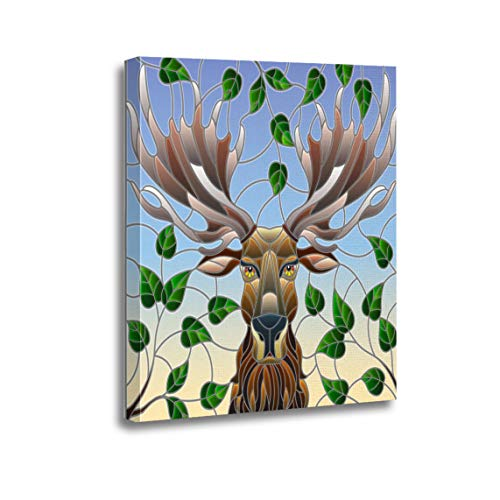 Ansouyi 12x16 Inches Canvas Wall Art Painting Stained Glass Moose Head of Tree Branches Home Decorative Artwork Prints