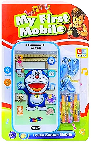 My Talking First Learning Kids Mobile Smartphone with Touch Screen and Multiple Sound Effects, Along with Neck Holder for Boys & Girls - Multi Color (Doremon)