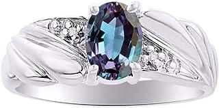 RYLOS خاتم كلاسيكي مع أحجار كريمة بيضاوية الشكل وألماس لامع أصلي من الفضة الإسترلينية .925-7X5 مم خواتم حجر المولد ستون