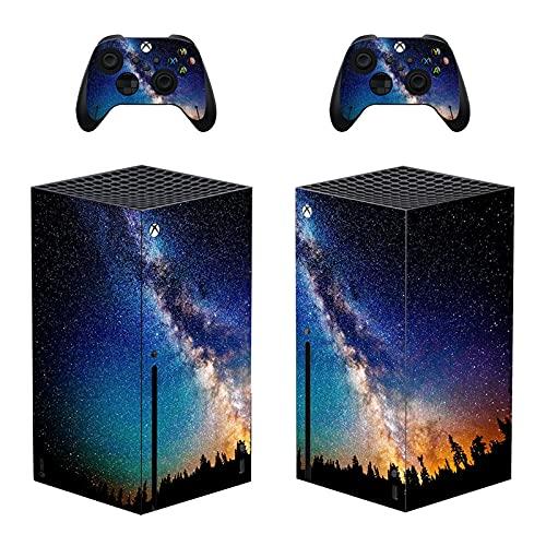 AXDNH Vía Láctea Cielo Estrellado Adhesivo De Piel para Xbox Series X Consola Y 2 Controladores Funda Protectora De Calcomanía De PVC para Xbox Series X, Negro,0433