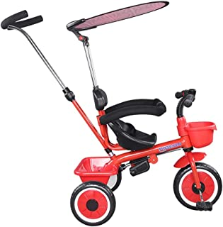Song Radio Flyer Tricycle Trolley Bicycle with Umbrella Children's Tricycle 3 in 1 with Handle Suitable for Children from 12 Months to 6 Years Old (Color : Red)