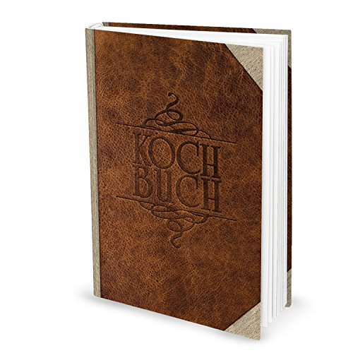 XXL Rezeptbuch zum Selberschreiben LEDER-NOSTALGIE Look braun beige DIN A4 HARDCOVER Meine Rezepte sammeln Liebslingsrezepte eigenes Kochbuch Geschenk Küche Notizbuch leer Kochen