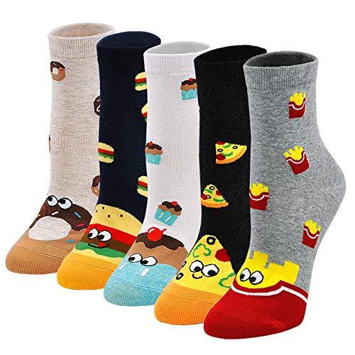 Lustige Socken Damen Bunte Socken mit Essen Motiv, Baumwolle Socken mit Witzig Muster Cupcakes Pizza Burger Pommes Donuts, Niedlich Coole Socken für Frauen Mädchen Weihnachten Geburtstag 5 Paare