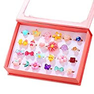 Unique Design--Designs of 24 rings that will make your daughters mesmerized. Sunflower, butterfly, fake gem ring. Usage of vibrant colors and lovely designs, no duplication, shown as picture. Ring Size --These rings are adjustable according your fing...