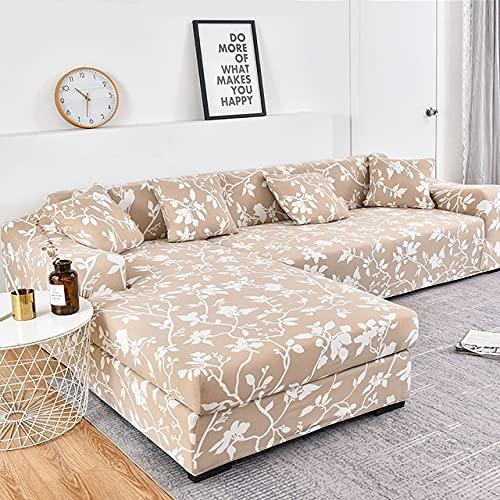 uyeoco Funda de sofá de Sala de Estar Chaise Longue, en Forma de L Necesita Comprar 2 Juegos, Funda de sofá elástica Funda de sofá de Esquina en Forma de L (Color : N, Size : 4 plazas (235-300cm))