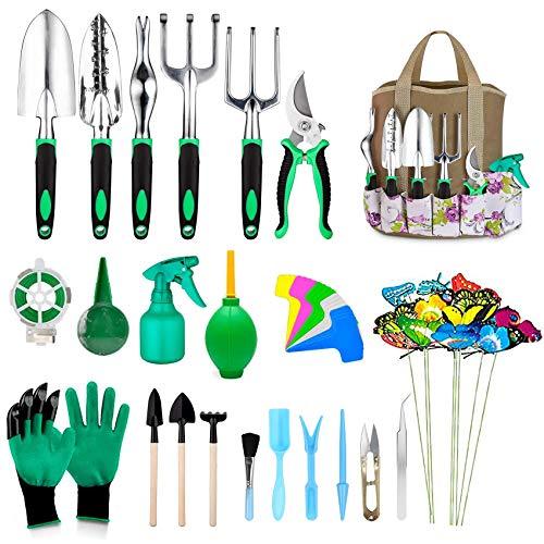 Gartenwerkzeug Set 50 Stücke Hochleistungswerkzeugen Gartengeräte Set mit Rutschfestem Gummi Griff mit Gartenhandschuhe, Gartengeräte Tasche, Saftiger Bonsai Werkzeugset Gartenpflanzen Pflege