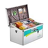 Portabl Caja de primeros auxilios Caja de aluminio de primeros auxilios con cerradura Kit de almacenamiento Gabinete de medicamentos Correa de hombro ajustable para el hogar, viajes y lugar de traba