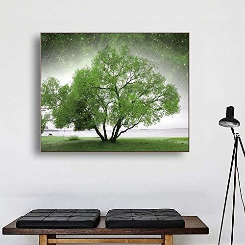 PLjVU Caligrafía Estrellado Cielo Verde árbol Pintura paredCuadro Moderno En Lienzo Pintura Naturaleza-Sin marco40X50CM