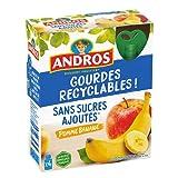ANDROS - Compote de Fruit - Gourde Recyclable - Sans Sucres Ajoutés - Goût Pomme/Banane - Idéal pour le Goûter des Enfants et des Bébés - Lot de 4