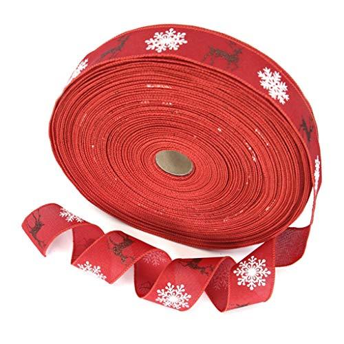 lijun 10 Rollos Brillo Alce Copo de Nieve Navidad arpillera Cinta Manualidades Bricolaje Arco árbol decoración