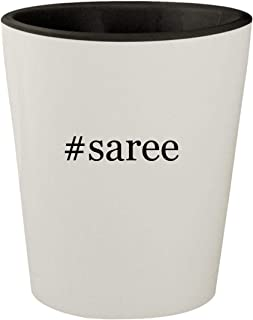 #saree - White Outer & Black Inner Hashtag Ceramic 1.5oz Shot Glass