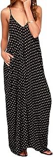FSSE Womens Summer Sundress Polka Dot Print Pockets Beach Evening Party Maxi Dress