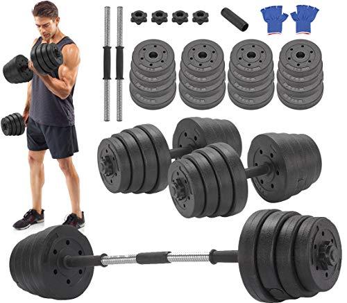Vivo Deluxe 30Kg Dumbbells Pair of Weights Barbell/Dumbells Body Building Set Gym Kit
