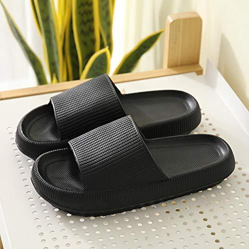 JFHZC Zapatillas para Famili,Zapatillas de casa Impermeables de Suela Gruesa Altamente elásticas, Zapatillas de Ducha súper Suaves y de Secado rápido para Hombres y Mujeres-Negro_42-43