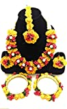 sarthak fashion jewellery Floret Yellow Gota Patti Nacklace, Earring, Mang Tika and Bangles for Women & Girls (Mehandi/Haldi/Baby/Shower)