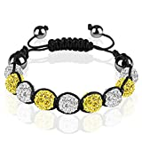 Mianova Shamballa Strass Armband Armreif Glücksbringer Glücks Armband Armreif mit Kristall Kugeln zweifarbig Clear Klar Gelb