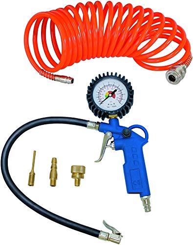 Scheppach Druckluft Set 5-teilig (Kompressor Set, Reifenfüllmessgerät, Luft-Ablassventil, 5m Spiralschlauch, 3 Aufsatzdüsen)