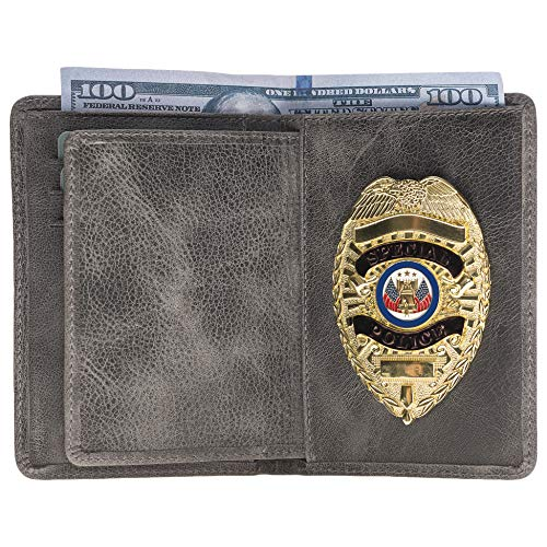 Police Badge Wallet, All Leather, Fits Any Shape Badge with Pin Back-Gray
