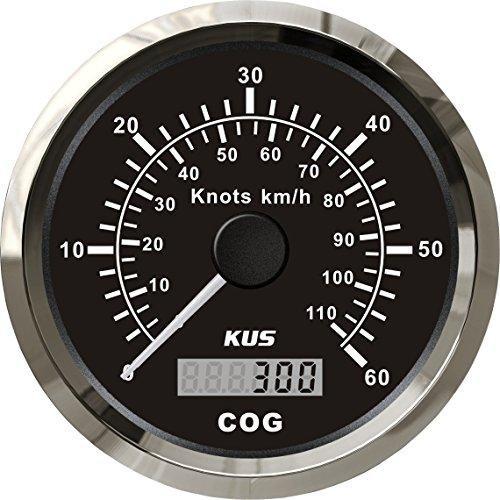 KUS GPS Velocímetro Cuentakilómetros Indicador 60Knots 110KM/H Para barcos Yates 85mm Con luz de fondo (Negro)