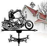 Tik LP Banner de Clima Loco de la Motocicleta,Banner del Tiempo del césped de los techos,dirección de la Velocidad del Viento,los Jardines al Aire Libre Pilas Vaine (Color : Motorcycle)