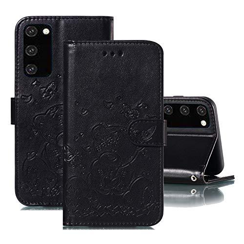 Suhctup Compatible pour Samsung Galaxy S8 Plus Coque Portefeuille Cuir Amour Coeur Ours Motif de Gaufrage Flip Housse avec Carte Fente et Support et Fermoir Magnétique Etui PU Antichoc Cover(Negro)