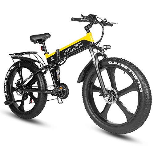 XXCY Fat Tire Ebike, Bicicleta De Montaña Eléctrica 1000w 48v 10.4ah 26 Pulgadas Neumático Plegable Integrado City Mountain Snow E-Bike (Amarillo)