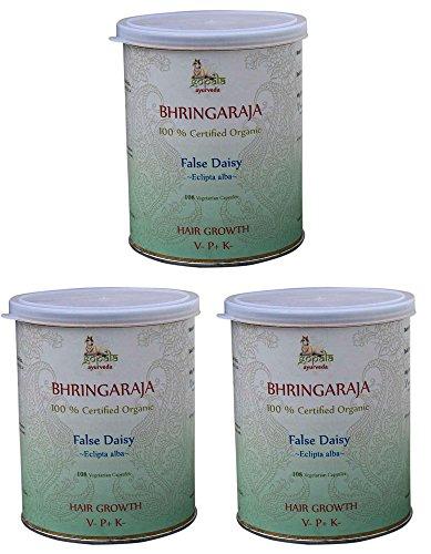Bhringraj Bio (108 Veg Kapseln - 3er pack) - Eclipta alba 500mg je Kapsel - 100% Bio-zertifiziertes pflanzliches Nahrungsergänzungsmittel der Lacon GmbH