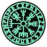 EmbTao Vegvisir Wikinger Kompass Nordisch Rune Moral Taktisch Bestickter Glühen Im Dunklen Aufnäher mit Klettverschluss